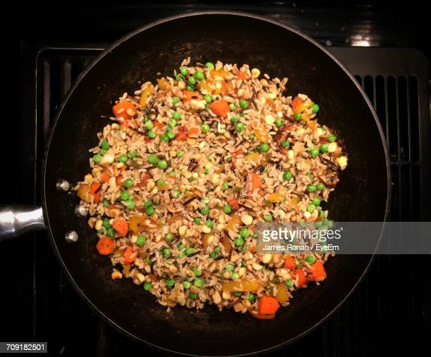 Directly Above Shot Of Veg Fried Rice In Cooking Pan