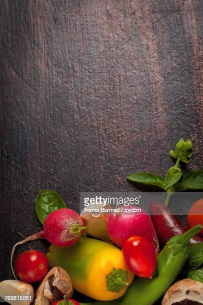Directly Above Shot Of Vegetables On Wooden Table