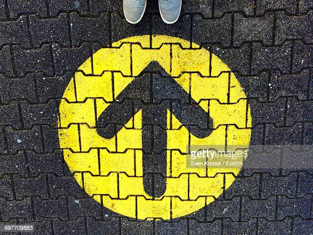 Directly Above View Of Arrow Symbol On Paving Stone Footpath