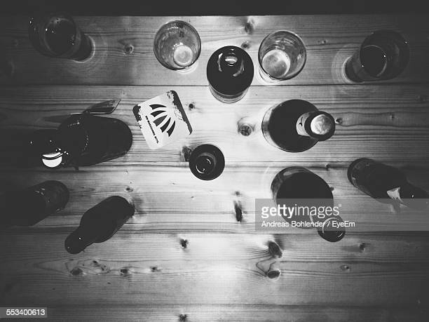 Directly Above View Of Beer Bottles On Table