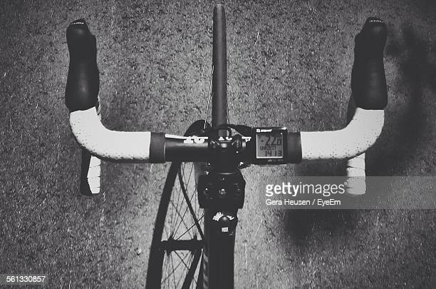 Directly Above View Of Bicycle Handlebar With Digital Display