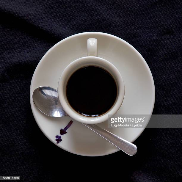 Directly Above View Of Black Coffee On Black Background