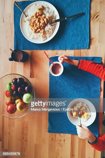 Directly Above View Of Boy Having Brunch