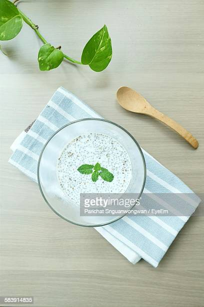 Directly Above View Of Chia Seed Mousse Served In Glass On Table