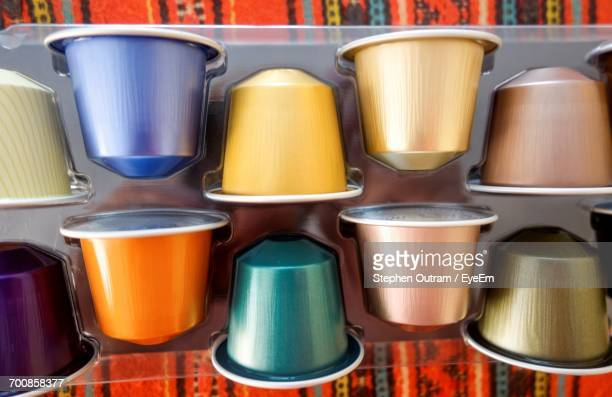 Directly Above View Of Colorful Coffee Capsules