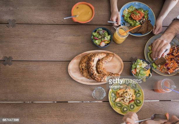 Directly above view of dinning table with healthy food.