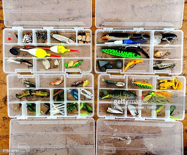 Directly Above View Of Fishing Tackle In Plastic Case