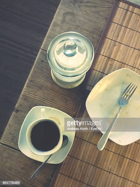 Directly Above View Of Fresh Black Tea Served On Table