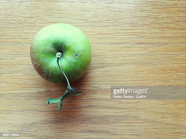 Directly Above View Of Fresh Granny Smith Apple On Table