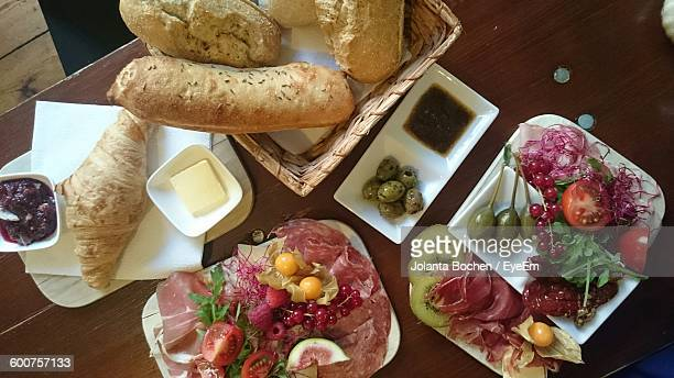 Directly Above View Of Fresh Mediterranean Breakfast Served On Table
