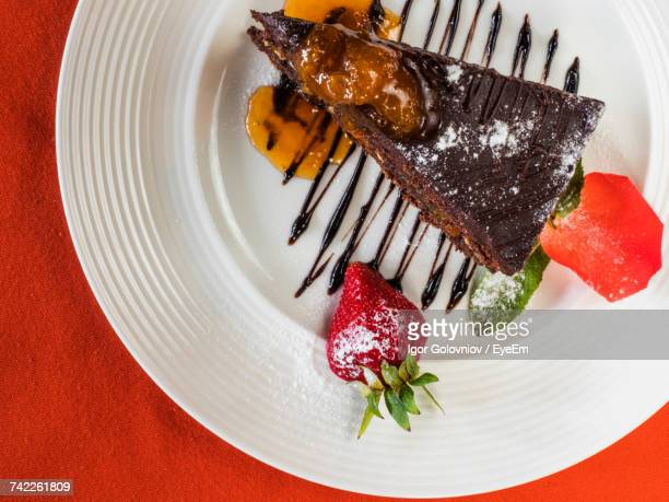 Directly Above View Of Fresh Sachertorte Served In Plate On Table