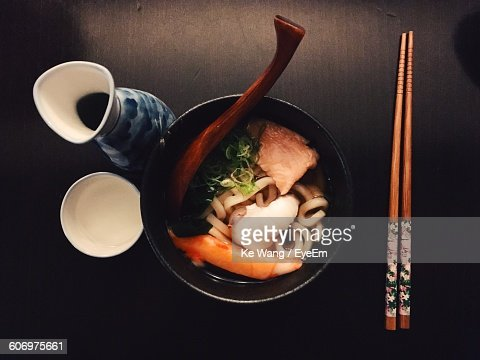 Directly Above View Of Fresh Seafood Meal Served In Bowl With Chopsticks On Table
