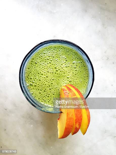 Directly Above View Of Fresh Smoothie With Apple Slices