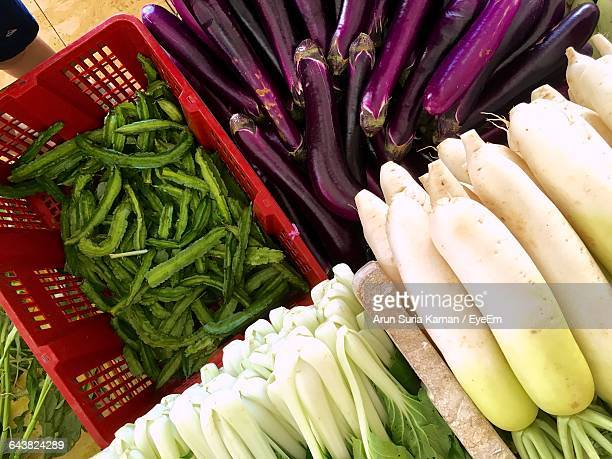 Directly Above View Of Fresh Vegetables At Market Stall