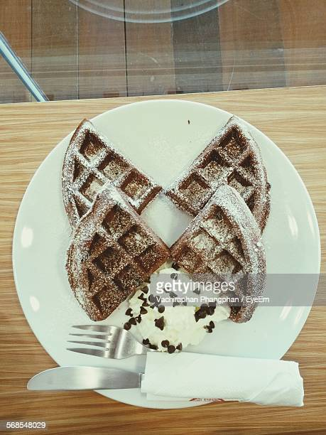Directly Above View Of Ice Cream With Waffles In Plate On Table