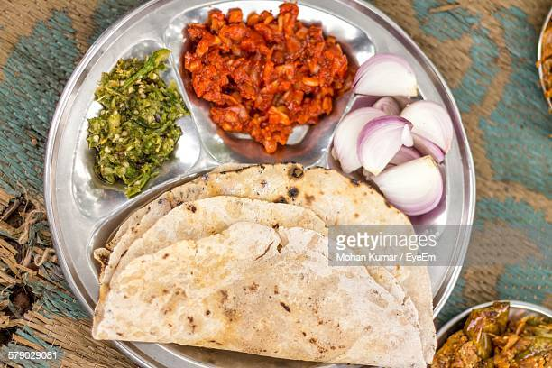 Directly Above View Of Indian Meal In Plate