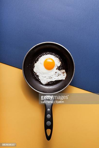 Directly Above View Of Omelet In Frying Pan On Table