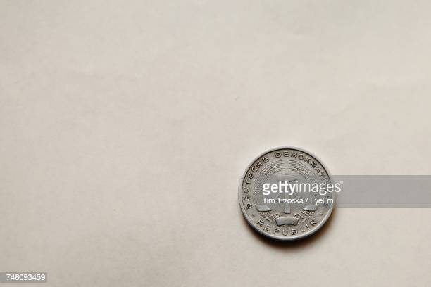 Directly Above View Of One Deutsche Mark Coin On White Background
