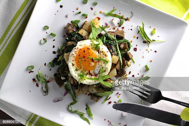 Directly Above View Of Potato With Poached Egg Served In Plate