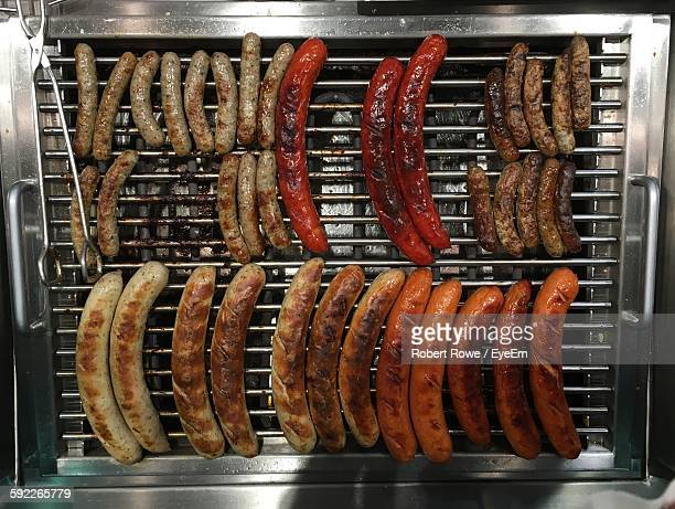 Directly Above View Of Sausages On Barbecue Grill