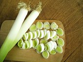 Directly Above View Of Sliced Leek On Chopping Board