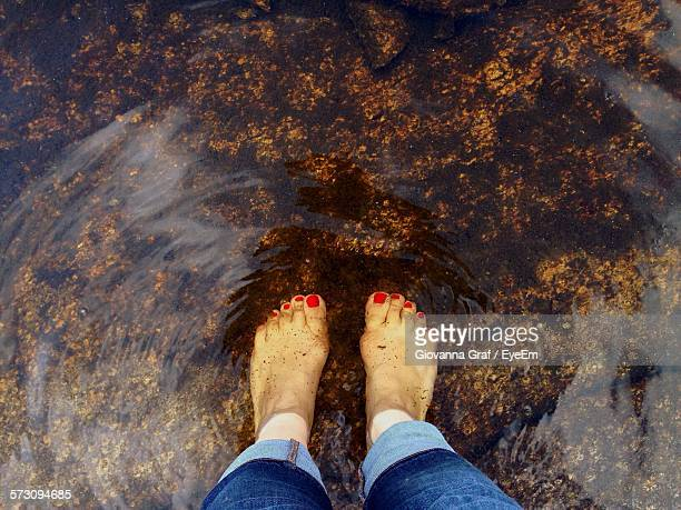 Directly Above View Of Woman Feet In Shallow Water