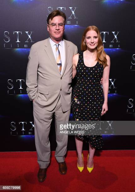 Director Aaron Sorkin and actress Jessica Chastain attend STXfilms' 'The State of the Industry Past Present Future' presentation during CinemaCon at...