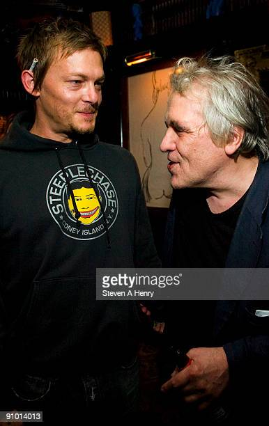 Director Abel Ferrara talks to Norman Reedus at the premiere of 'Chelsea On The Rocks' at The Jane Hotel on September 21 2009 in New York City