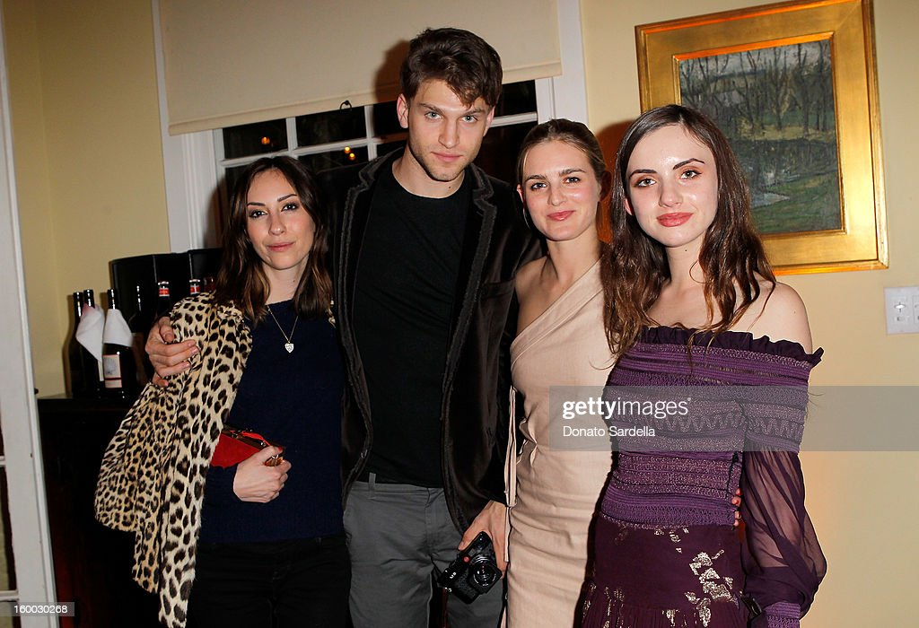 Director/ actress Gia Coppola, actors <a gi-track='captionPersonalityLinkClicked' href=/galleries/search?phrase=Keegan+Allen&family=editorial&specificpeople=7285317 ng-click='$event.stopPropagation()'>Keegan Allen</a>, Nathalie Love, and Zoe Sidel attend the Ferragamo presentation Spring Summer Runway Collection with VIP dinner, hosted by Jacqui Getty and Harpers BAZAAR at Chateau Marmont on January 24, 2013 in Los Angeles, California.
