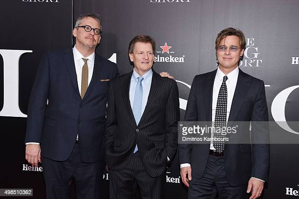 Director Adam McKay writer Michael Lewis and actor Brad Pitt attend the premiere of 'The Big Short' at Ziegfeld Theatre on November 23 2015 in New...