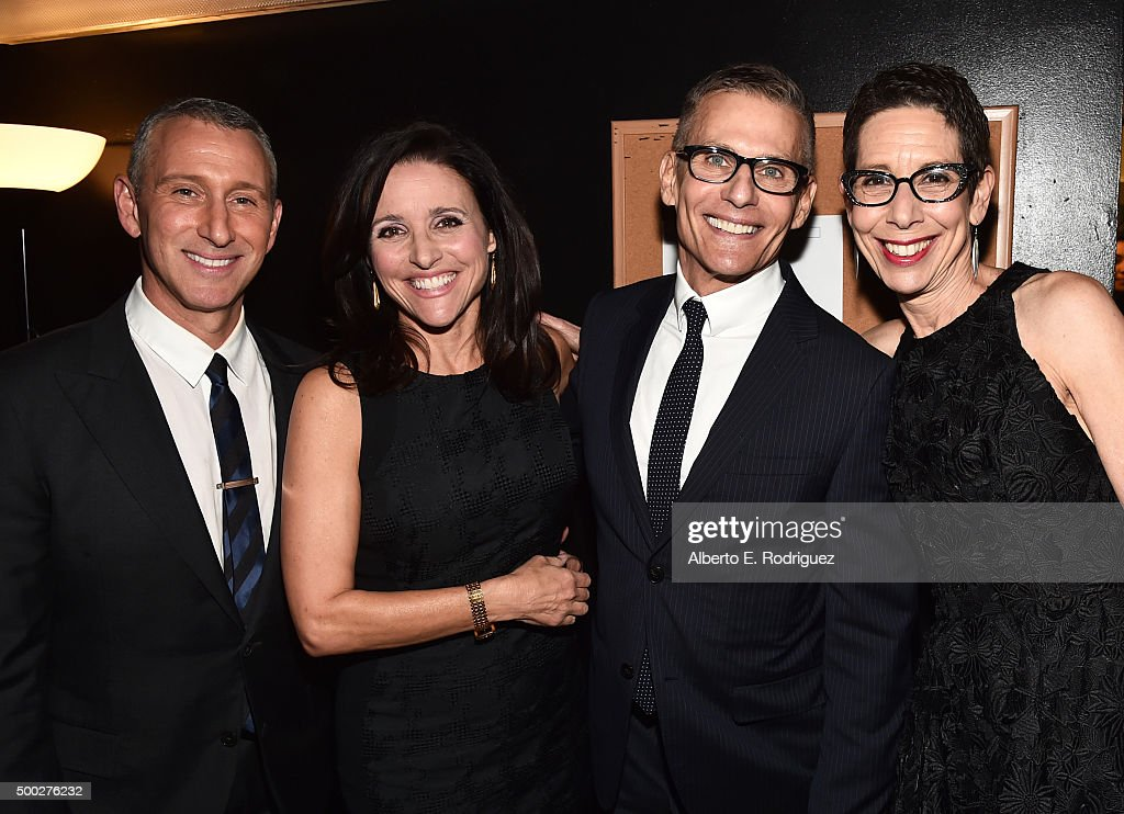Director Adam Shankman, actress Julia Louis-Dreyfus, honoree Michael Lombardo and executive director and CEO, The Trevor Project Abbe Land attend TrevorLIVE LA 2015 at Hollywood Palladium on December 6, 2015 in Los Angeles, California.