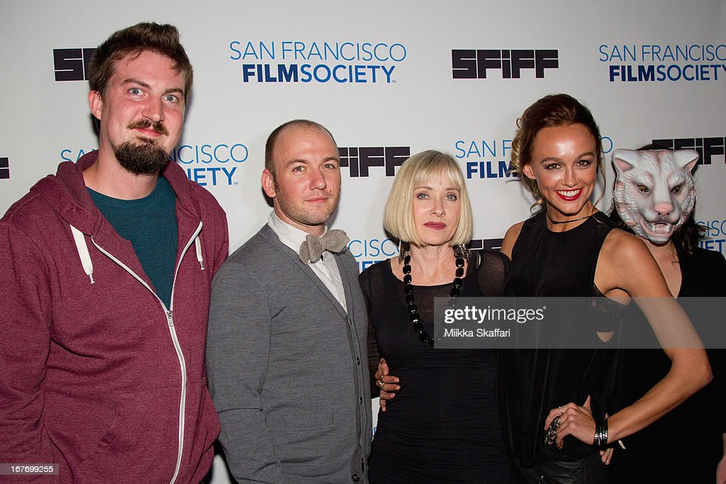 Director Adam Wingard, writer Simon Barrett actress Barbara Crampton and actress <a gi-track='captionPersonalityLinkClicked' href=/galleries/search?phrase=Sharni+Vinson&family=editorial&specificpeople=690345 ng-click='$event.stopPropagation()'>Sharni Vinson</a> arrive at 'You're Next' premiere at Sundance Kabuki Cinemas on April 27, 2013 in San Francisco, California.