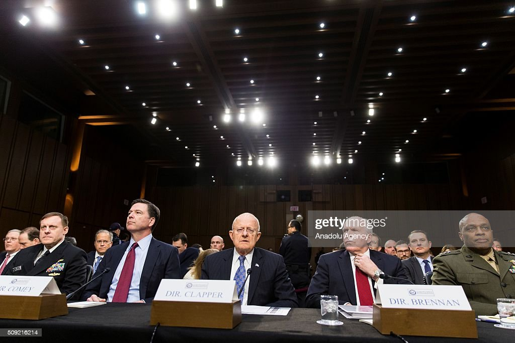 NSA Director Admr, Michael Rogers, FBI Director James Comey, National Intelligence Director James Clapper, CIA Director John Brennan, and DIA Director Lt. Gen. Vincent Stewart during a Senate Intelligence Committee hearing in Washington, USA on February 9, 2016.