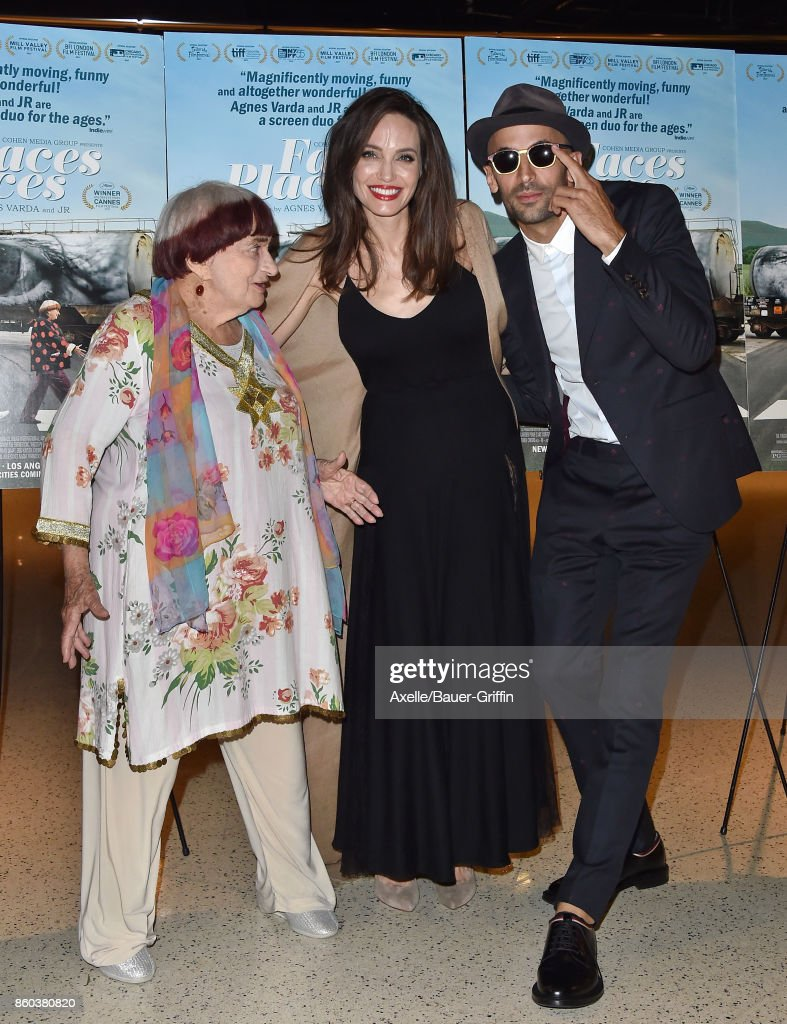Director Agnes Varda, actress Angelina Jolie and director JR attend the premiere of Cohen Media Group's 'Faces Places' at the Pacific Design Center on October 11, 2017 in West Hollywood, California.