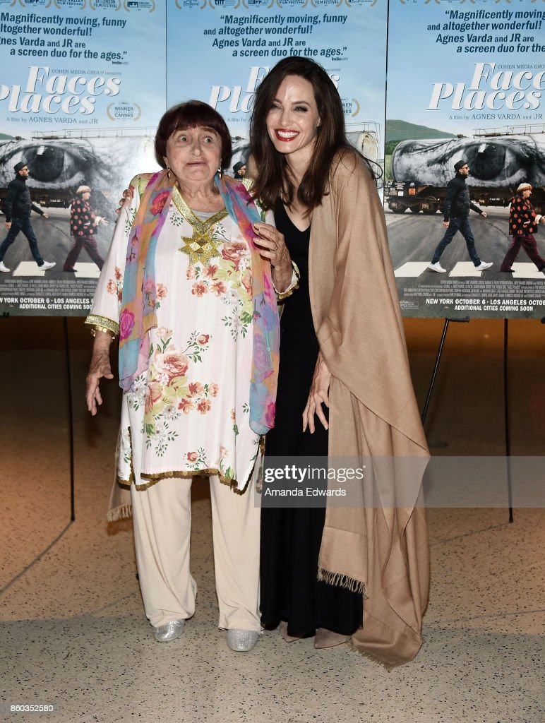 Director Agnes Varda (L) and actress Angelina Jolie attend the premiere of Cohen Media Group's 'Faces Places' at the Pacific Design Center on October 11, 2017 in West Hollywood, California.