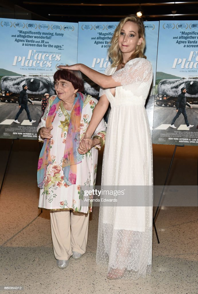 Director Agnes Varda (L) and actress Jennifer Lawrence attend the premiere of Cohen Media Group's 'Faces Places' at the Pacific Design Center on October 11, 2017 in West Hollywood, California.