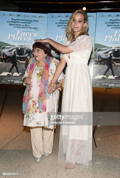 Director Agnes Varda and actress Jennifer Lawrence attend the premiere of Cohen Media Group's 'Faces Places' at the Pacific Design Center on October...