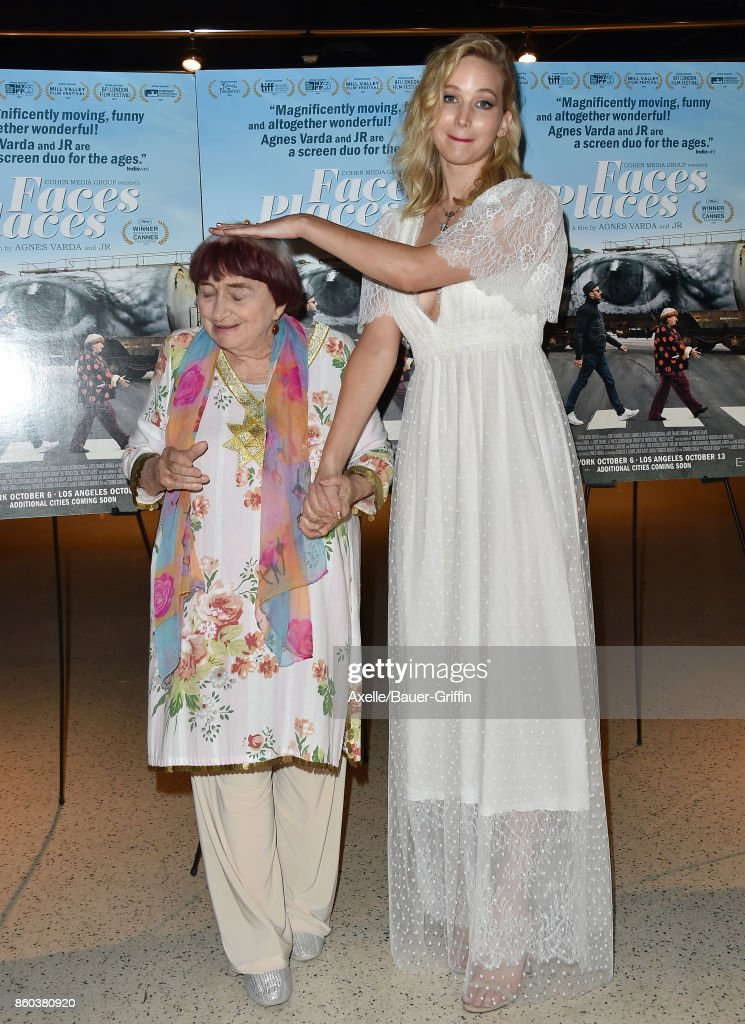 Director Agnes Varda and actress Jennifer Lawrence attend the premiere of Cohen Media Group's 'Faces Places' at the Pacific Design Center on October 11, 2017 in West Hollywood, California.