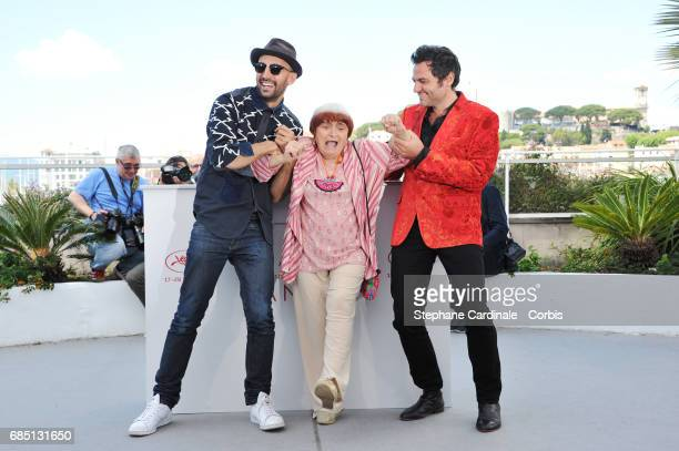 JR Director Agnes Varda and composer Matthieu Chedid attend the 'Faces Places ' photocall during the 70th annual Cannes Film Festival at Palais des...