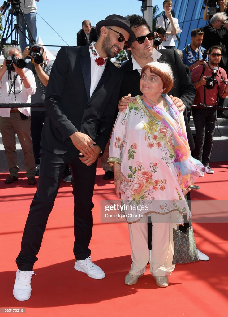 JR, director Agnes Varda and composer Matthieu Chedid attend the 'Faces, Places (Visages, Villages)' screening during the 70th annual Cannes Film Festival at Palais des Festivals on May 19, 2017 in Cannes, France.
