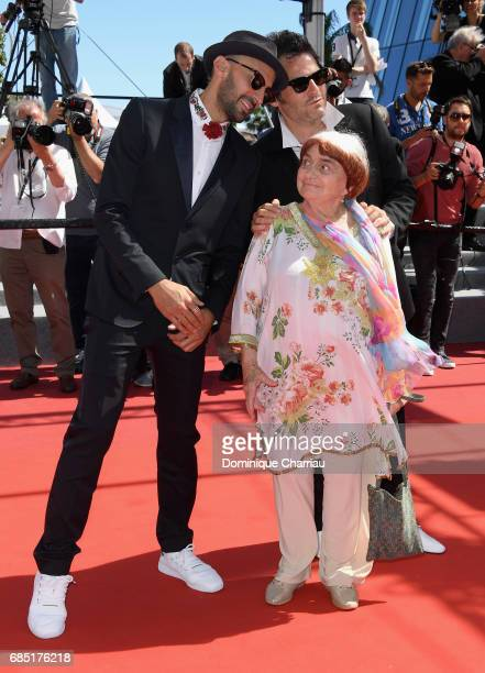 JR director Agnes Varda and composer Matthieu Chedid attend the 'Faces Places ' screening during the 70th annual Cannes Film Festival at Palais des...