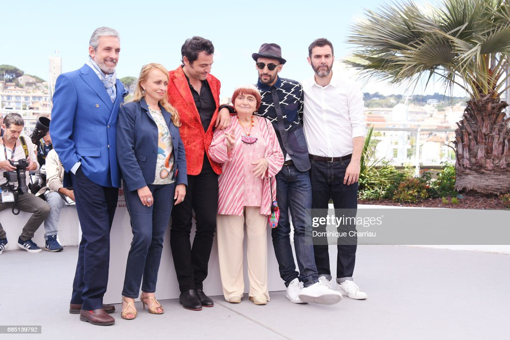 JR, director Agnes Varda, composer Matthieu Chedid and the team of the movie attend the 'Faces, Places (Visages, Villages)' photocall during the 70th annual Cannes Film Festival at Palais des Festivals on May 19, 2017 in Cannes, France.