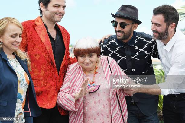 JR director Agnes Varda composer Matthieu Chedid and the team of the movie attend the 'Faces Places ' photocall during the 70th annual Cannes Film...