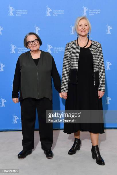 Director Agnieszka Holland and Actress Agnieszka Mandat attend the 'Spoor' photo call during the 67th Berlinale International Film Festival Berlin at...