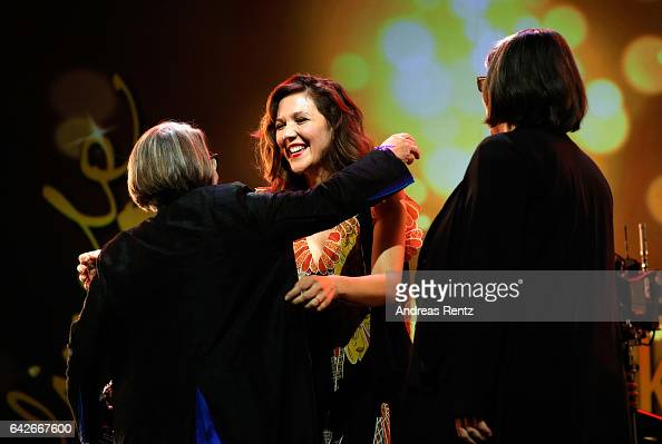 Director Agnieszka Holland and her daughter and codirector Kasia Adamik are awarded by jury member Maggie Gyllenhaal with Silver Bear Alfred Bauer...