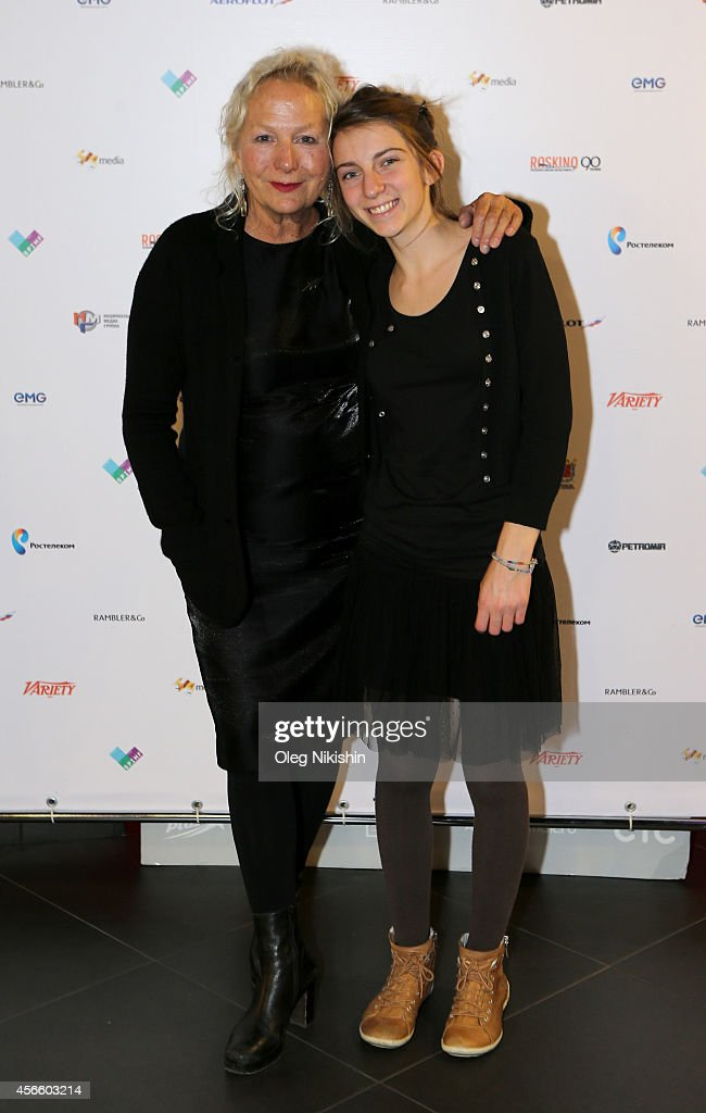Director Agnès B. (L) and Lou-Lélia Demerliac attend the 'Je m'appelle Hmmm' Russian premiere during the Saint Petersburg International Media Forum at the Velikan Theatre on October 3, 2014 in Saint Petersburg, Russia.
