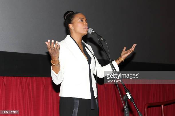 Director Aisha Tyler speaks at the 'Axis' screening during the 2017 Sarasota Film Festival on April 7 2017 in Sarasota Florida