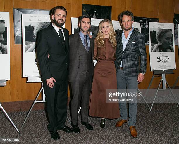 Director AJ Edwards and actors Wes Bentley Brit Marling Jason Clarke attend the Los Angeles Premiere of 'The Better Angels' at DGA Theater on October...