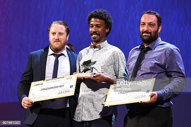 Director Ala Eddine Slim and actor Jawher Soudani receive the Lion of the Future 'Luigi de Laurentiis' Venice award for the movie 'The Last of Us'...