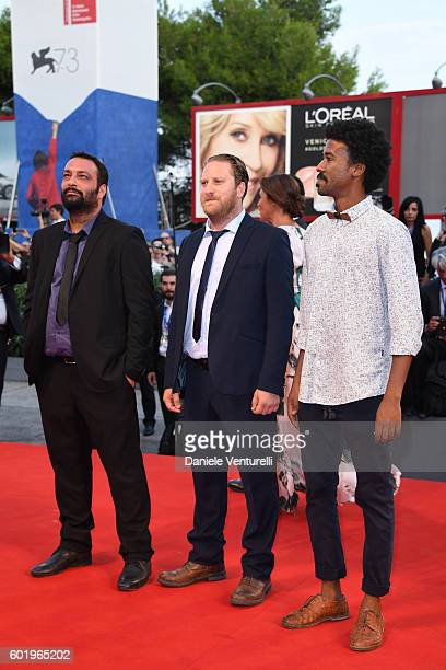 Director Ala Eddine Slim and Jawher Soudani attend the closing ceremony of the 73rd Venice Film Festival at Sala Grande on September 10 2016 in...